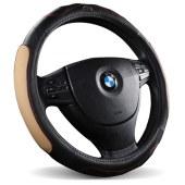 汽车方向盘套头层牛皮四季通用 38厘米 中号 米色